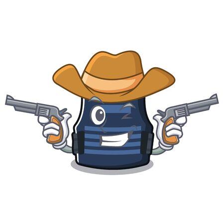 Cowboy bulletprof vest isolated in the mascot Çizim