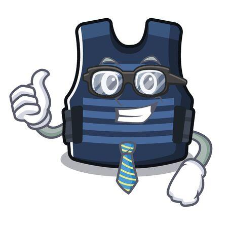 Businessman bulletprof vest in the cartoon shape