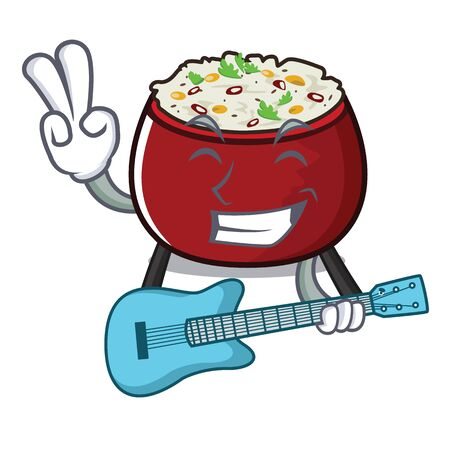 With guitar curd rice isolated with the cartoon