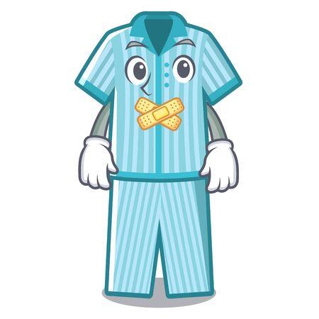 Silent folded pajamas in a cartoon closet