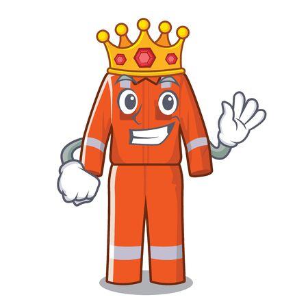 King character work overalls hanging on door