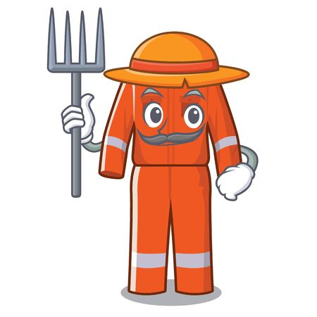 Farmer working overalls in the cartoon shape