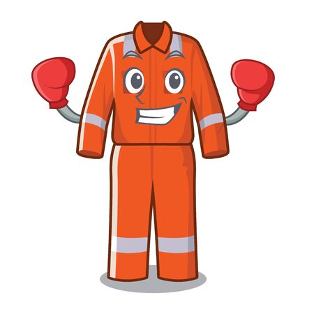 Boxing working overalls in the cartoon shape vector illustration