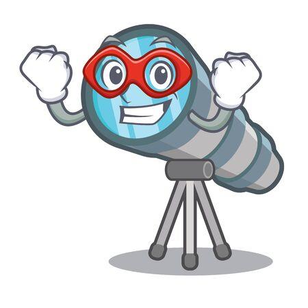 Telescopio de dibujos animados de superhéroes en el almacén de juguetes Ilustración de vector