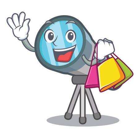 Telescopio per cartoni animati nel magazzino dei giocattoli