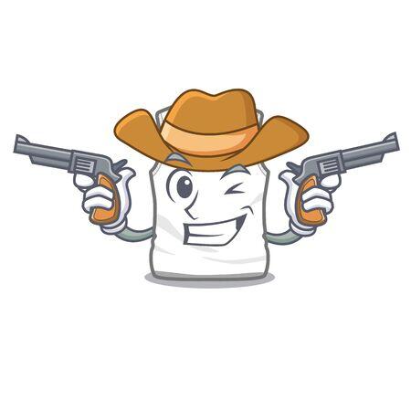 Cowboy undershirt in the a mascot shape