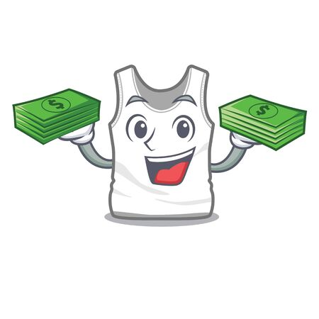 With money bag undershirt folded in a cartoon closet vector illustration
