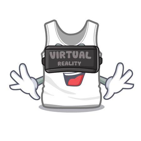 Virtual reality undershirt folded in a cartoon closet vector illustration