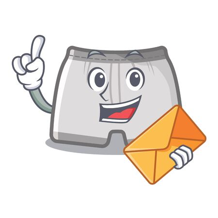 With envelope swimming trunks isolated with the mascot