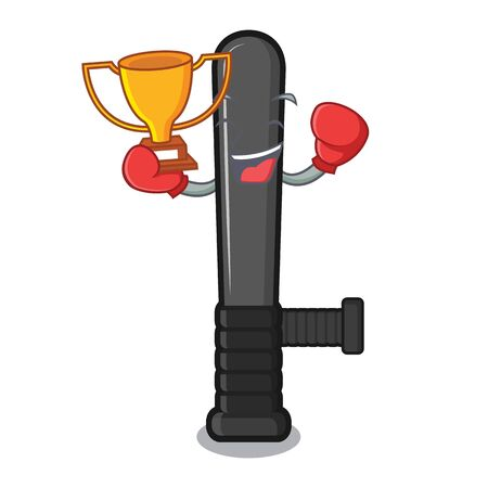 Boxing winner police baton in a cartoon chair vector illustration