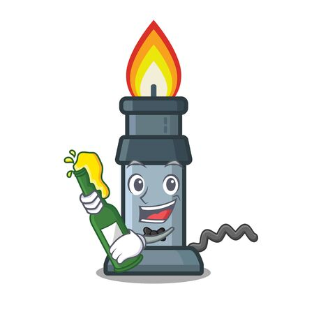 With beer bunsen burner above wooden cartoon table vector illustration
