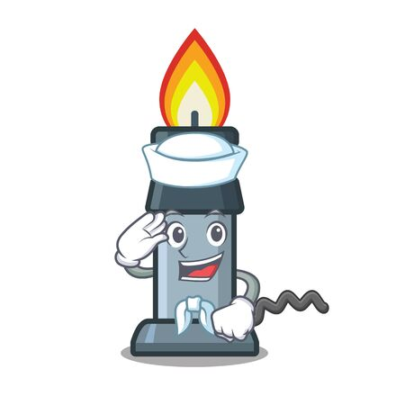 Sailor bunsen burner isolated with the cartoon