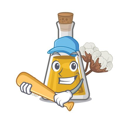 Playing baseball cottonseed oil in a mascot bottle vector illustration Imagens - 127118184