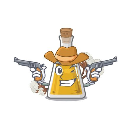 Cowboy cottonseed oil in a mascot bottle Imagens - 127136324