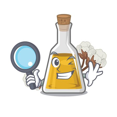 Detective cottonseed oil isolated in the character vector illustration