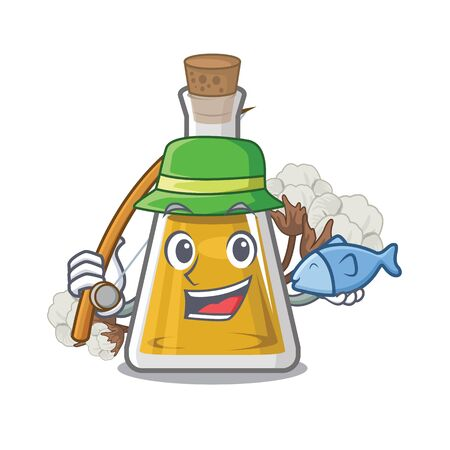 Fishing cottonseed oil in the cartoon shape vector illustrartion