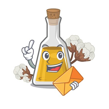 With envelope cottonseed oil isolated in the character vector illustration