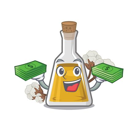 With money bag cottonseed oil in the cartoon shape vector illustrartion Иллюстрация