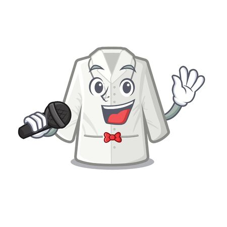 Singing doctor coat stored in mascot cupboard vector illustration