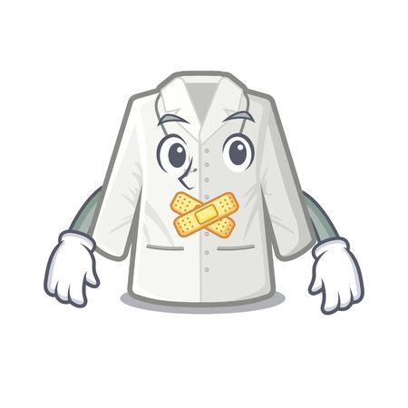 Silent doctor coat hanging on cartoon wall vector illustration Ilustração