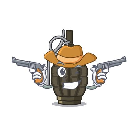 Cowboy grenade isolated with on the character vector illustration 일러스트