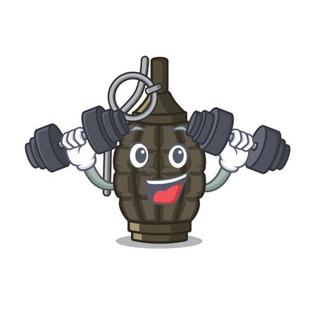 Fitness grenade isolated with on the character vector illustration