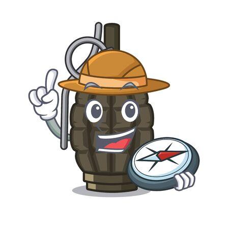Explorer cartoon grenade a in the bag vector illustration