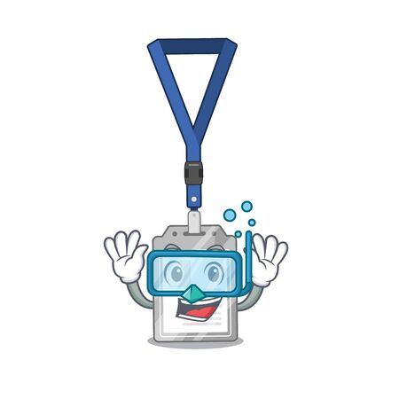 Diving name tag on the mascot table vector illustration