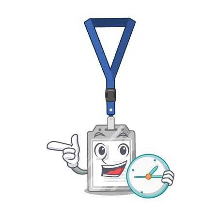 With clock name tag on the mascot table vector illustration