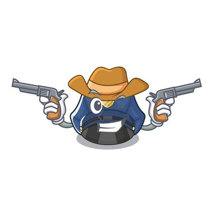 Cowboy police hat isolated in the mascot vector illustration