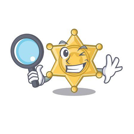 Detective star badge police on a cartoon vector illustration Illustration