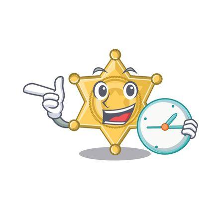 With clock star badge police on a cartoon vector illustration