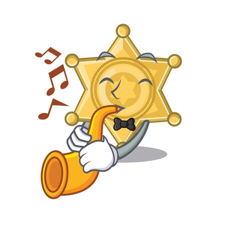 With trumpet star police badge the character shape vector illustration  イラスト・ベクター素材