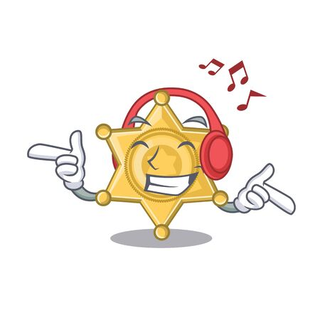 Listening music star police badge the character shape vector illustration