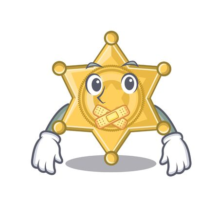 Silent star police badge on cartoon table vector illustration