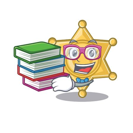Student with book star police badge on cartoon table vector illustration