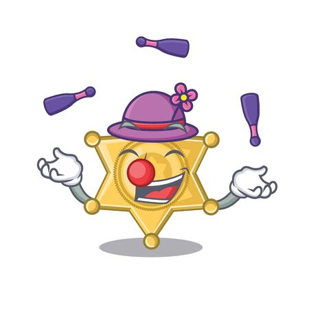 Juggling star police badge on cartoon table vector illustration Illustration