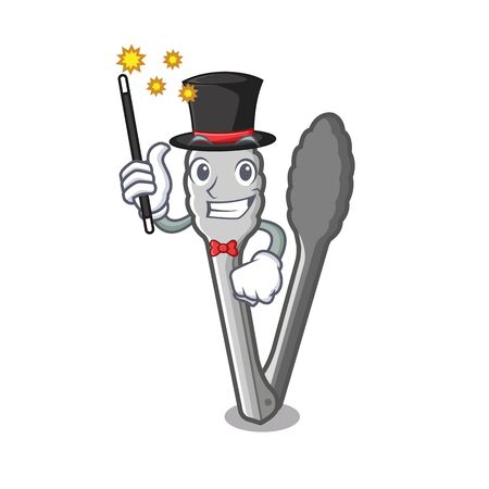 Magician character tongs on the kitchen table vector illustration