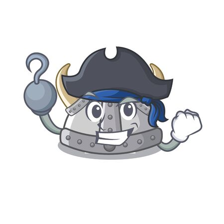 Pirate viking helmet isolated with the character vector illustration