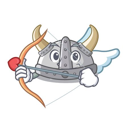 Cupid viking helmet isolated with the character vector illustration Illustration