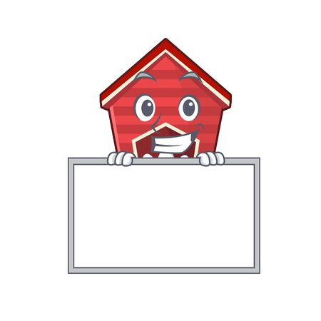 Grinning with board chicken coop isolated in the mascot vector illustration