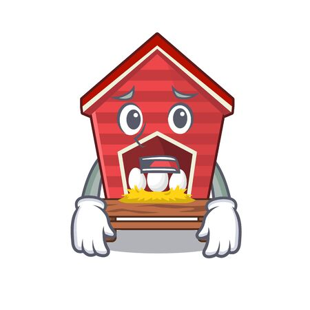 Afraid chicken coop in character house yards vector illustration