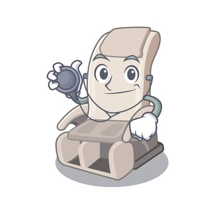 Doctor massage chair isolated in the character vector illustration