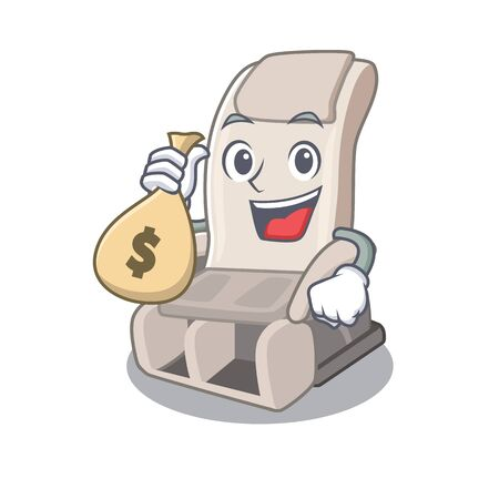With money bag massage chair isolated in the character vector illustration 일러스트