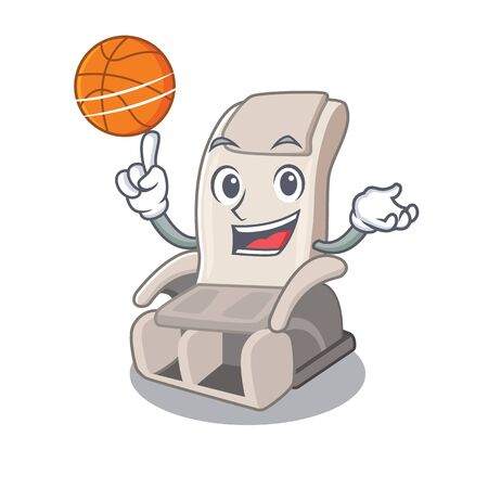 With basketball massage chair isolated in the character vector illustration