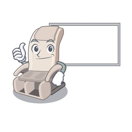 Thumbs up with board massage chair isolated in the character vector illustration