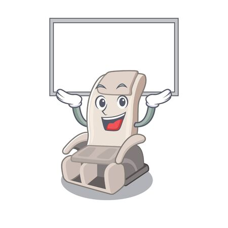 Up board massage chair isolated in the character vector illustration