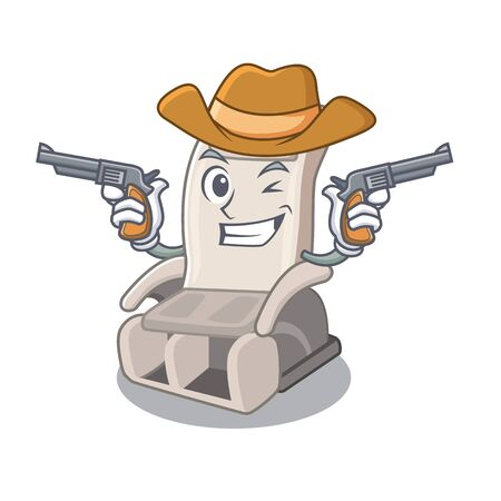 Cowboy massage chair isolated in the character vector illustration