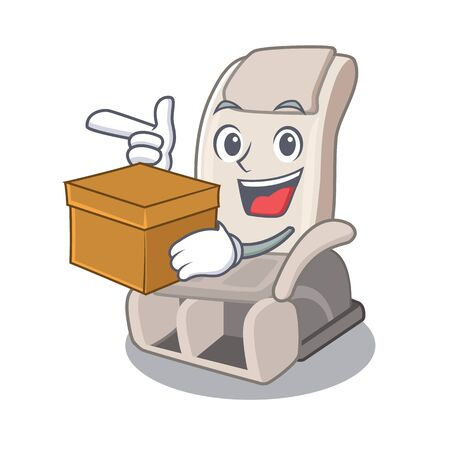 With box massage chair in the mascot shape vector illustration