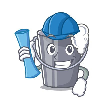 Architect soapy water in a cartoon bucket vector illustration